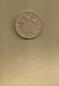 1939 GEORGE VI BRASS THREEPENCE COIN