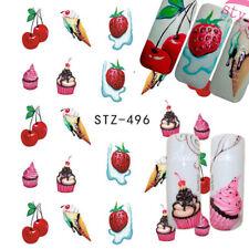 Nail Art Water Decals Transfers Stickers Cherry Ice Cream Cherries Cupcake (496)