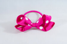 Unit of 10 Medium 3 Inch Fuschia with White spots Hair Bows elastics Grosgrain