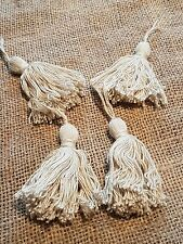 4 natural cream cotton key tassels ideal for cushions and  textile projects
