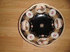Vintage NORITAKE Japan Large Black & Gold Gilt Landscape & Roses Dish Excellent