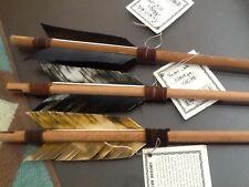 3 Navajo Arrows w/Mixed Turkey feathers-Leather-Bone carved arrowhead Native Am!