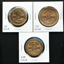 1933 NORTH BEND, OREGON WOODEN DEPRESSION SCRIP/MONEY/CURRENCY - (3) TOKENS