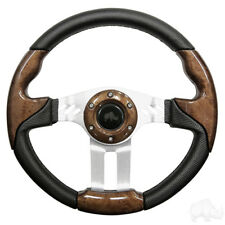 Golf Cart Aviator 5 Woodgrain Grip/Brushed Aluminum Steering Wheel