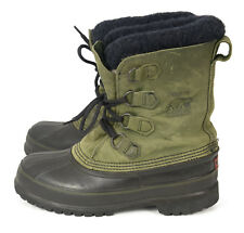 SOREL Caribou Winter Boots USA Duck Muck Snow Green Leather Rubber Womens 9