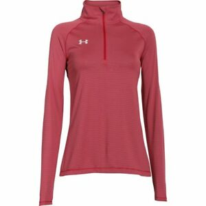 Under Armour Women's Red UA Tech Micro Striped 1/4 Zip Shirt