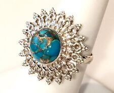 Desert Blue Copper Turquoise Solid Sterling Silver Ring 4.7g Size 8.25