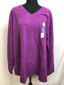 Tek Gear Womens Essential Gear Long Sleeve V Neck Fleece Sweatshirt Size 2X