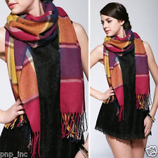 Red/Purple Women's Winter Long Scarf Wrap Blanket Oversized Shawl Plaid Tartan