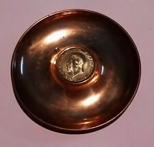 1930 KING GEORGE V FIFTH ONE PENNY COIN DOUBLE SIDED ROUND COPPER PIN DISH 1d 1p