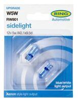 2 X Ring 501 Xenon Style Blue Ice (801) Capless Car Side Light Bulb 12V 5W W5W