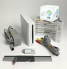 Nintendo Wii White Console Bundle - 8 Games - Official Controller - H2