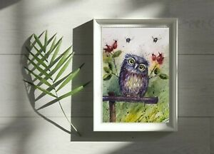 A3 original  watercolour animal painting , Owl and Bees