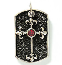 RED RUBY MEDIEVAL KNIGHT FLEURY CROSS DOG TAG STERLING 925 SILVER PENDANT