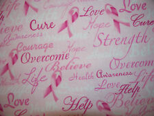 BREAST CANCER WORDS RIBBONS INSPIRATIONAL CHALLENGE STRENGTH COTTON FABRIC BTHY