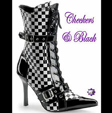 "Daring by Pleaser - BLACK & WHITE CHECKS MID CALF BOOTS 3.75"" Heel 7US = 6AU"