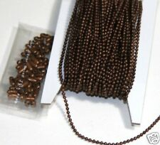 32ft antiqued copper 1.5mm ball chain with connectors