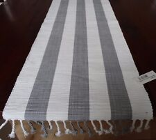 TABLE RUNNER - SOFT GREY AND WHITE STRIPE - HAMPTONS, NEUTRAL, GORGEOUS GREY