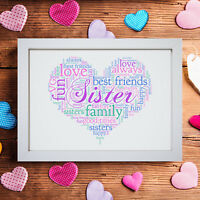 Personalised Word Art Sister Big Little Sis Heart Picture Print Frame Gift