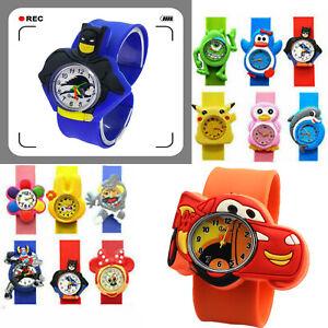 Unisex Girls Boy Kids Children Snap On Slap Strap Band Superhero Wrist Watch Toy