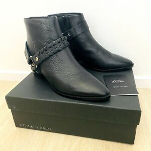 Wittner New In Box Genuine Leather Women's Kerrence Ankle Boots Black EU 39