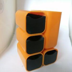 Plastic Desk organizer Caddy Yellow Vintage