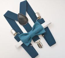 Kids Boys Mens Dark Teal Blue Suspenders & Dark Teal Blue Bow tie Baby ADULT SET