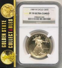 1989 W $50 PROOF GOLD EAGLE NGC PF70 ULTRA CAMEO PERFECT COIN & SLAB KEY DATE!