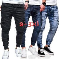 Mens Skinny Jeans Cargo Slim Fit Denim Pants Motorcycle Biker Jogger Trousers