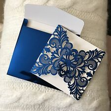 Royal/Titanium Blue Glossy Wedding Invitation Cards Accessories