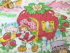 Vintage Strawberry Shortcake Twin Fitted Bed Sheet 1980 Fabric Cutter Crafts