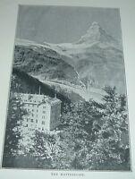 1904 Antique Print MATTERHORN Mountain of Alps Switzerland Scenic View
