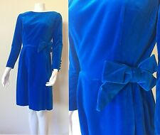 Vintage 60s Brilliant Blue Velvet VELVETEEN Mini Dress MOD Babydoll BOW Party XS