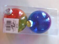 2 Blue Purple & Red Gold Clear Shatter Resistant Christmas Ornament Decoration