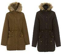 NEW WOMENS BLACK GOLD WINTER FUR HOODED COAT PLUS SIZE LADIES PARKA SIZE 18-24