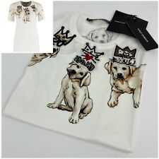 €830 NWT DOLCE & GABBANA Womens White Beaded Labrador Dog T Shirt Top 38 8-10 S