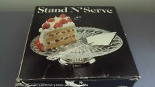 Crystal  Silverplate Cake Pie Stand Server Leonard Italy New In Box Silver Plate