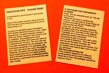 2 x Laminated geocache instructions for muggles.  Geocaching.