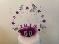 Butterfly Round cake topper made with your choice Of Name And age And Colours