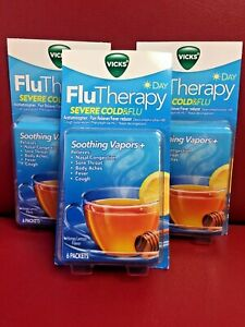 VICKS Flu Therapy Sever Cold & Flu Daytime Soothing Vapors Honey Lemon 18 Count