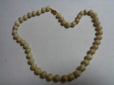 HAND KNOTTED SAND STONE NECKLACE WITH GOLD TONE CLASP WEDDING PARTY PROM FEST