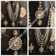 Indian Bollywood Rani Haar, light weight Clear stones necklace, earrings, Tikka.