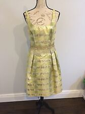 Carmen Marc Volvo  Cocktail Gown Gold/ Green Yellow Beaded Approx Size 8 Nwot