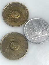 (3) Alcoholics Anonymous Aa Bronze Medallion Token Coin Chip Sober Sobriety