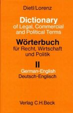 Dictionary of Legal, Commercial and Political Terms by Lorenz Hardback Book The