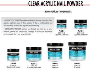 Mia Secret Acrylic Powder - CLEAR 0.5 oz / 1 oz / 2 oz / 4 oz / 8 oz