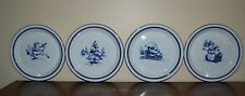"DANSK BISTRO POTTERY CHRISTMAS PLATES SET OF 4 8 3/4"" BLUE TRIM"