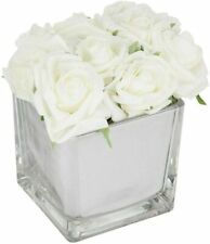 White Roses in Mirror Cube Artificial Plant Hallway, Bedroom, Gift (Home Decor)