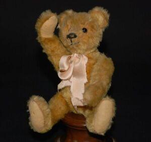 uralter Teddybär mit gelben Mohair und Knopfaugen * Höhe 20 cm * 1910/1920