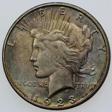 1923-S $1 PEACE SILVER DOLLAR BU TONED